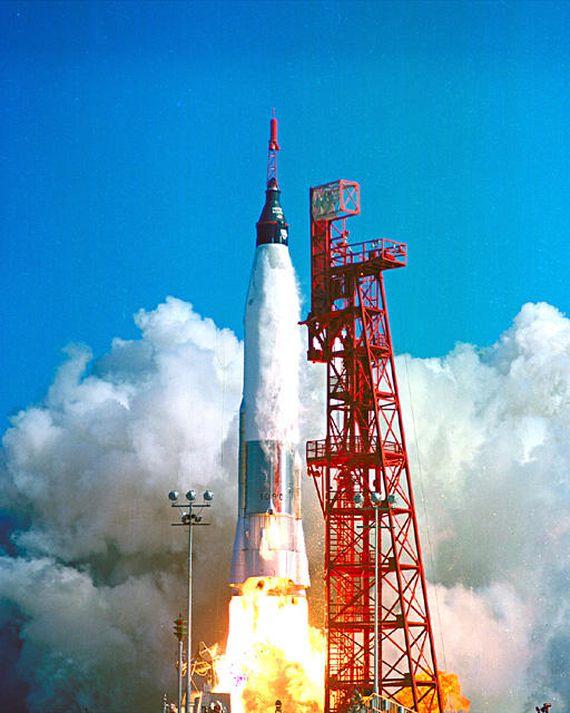 Mercury-Atlas rocket carrying John Glenn's Friendship 7 capsule lifts off